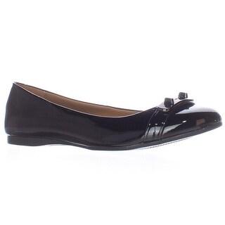 Coach Oswald Logo Strap Ballet Flats - Black Patent