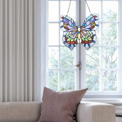 """River of Goods 12""""H Love Life Butterfly Stained Glass Window Panel - 12.5"""" x 0.5"""" x 12"""""""