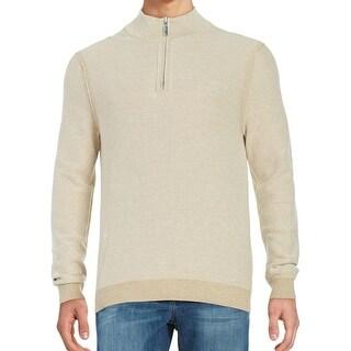 Tommy Bahama NEW Beige Mens Size Medium M Reversible 1/2 Zip Sweater