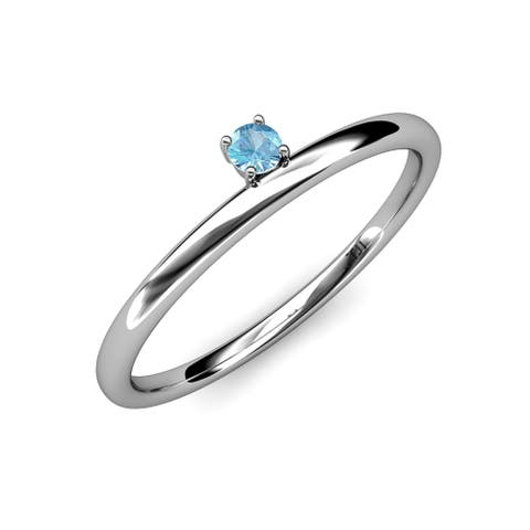 TriJewels Blue Topaz Solitaire Asymmetrical Stackable Ring 14K Gold