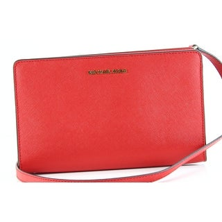 Michael Kors Bright Red Crossbody Clutch Leather Handbag Purse