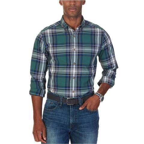 Nautica Mens Caspian Plaid Button Up Shirt, Green, Small