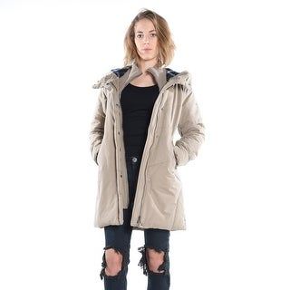 Padded Parka With Knitted Collar - Taupe