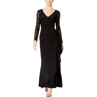 Alex Evenings Womens Evening Dress Faux Wrap Lace