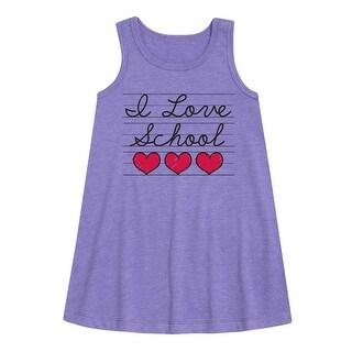 I Love School Cursive - Youth Girl Aline Dress