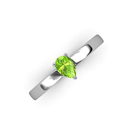 TriJewels Pear Cut Peridot 1/2 ct Solitaire Engagement Ring 14K Gold