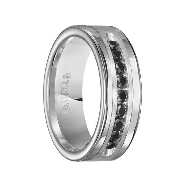 SILAS Polished Tungsten Brushed Silver Inlay Wedding Band with Channel Set Black Diamonds by Triton Rings - 8mm