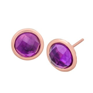 2 3/4 ct Amethyst Stud Earrings in 18K Rose Gold-Plated Bronze - Purple