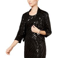 Kasper Black Womens Size 16 Sequin Shimmer Open Front Jacket