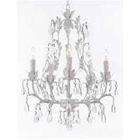 White Wrought Iron Floral Chandelier  Crystal