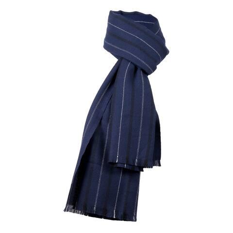Ermenegildo Zegna Navy Blue Fine Stripe Pure Wool Fringe Scarf - 22.5-78
