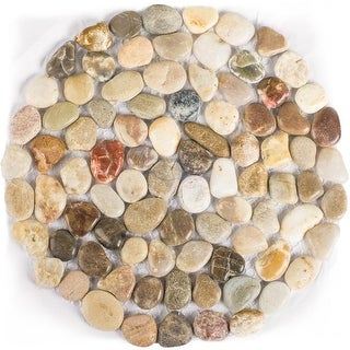 Polished Cobblestone Pebble Tile for Walls, Floors, Garden, Yards (1 box with 6x 10''x10'' pieces)