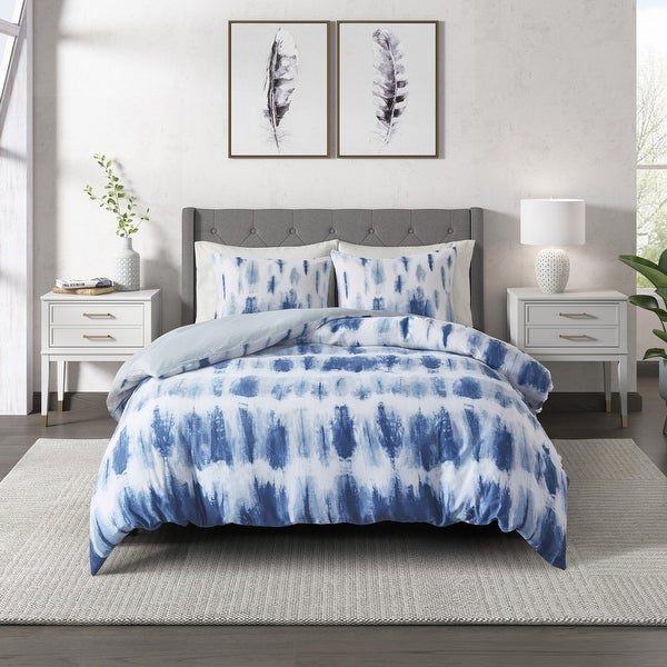 Tie Dye Blue Cotton Printed Comforter Set by CosmoLiving. Opens flyout.