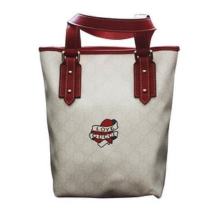 """Gucci White Canvas """"Love Gucci"""" Heart Tattoo Small Bucket Bag"""