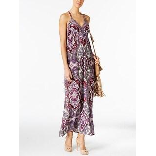 I.N.C International Concepts Petite Printed Maxi Dress, Voilet, Size PL