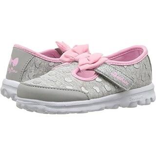 Skechers Kids Baby Girl's Go Walk - Bitty Heart 81162N (Infant/Toddler/Little Kid) Gray/Pink 8 M Us Toddler