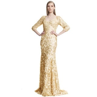 Theia 3/4 Sleeve V-Neck Petal Embellished Evening Gown Dress