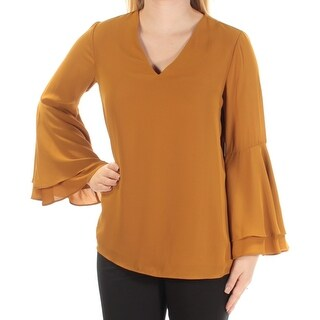 Womens Gold Bell Sleeve V Neck Top Size 4