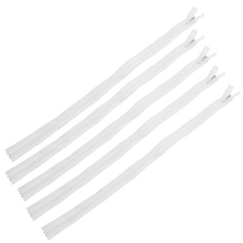 Nylon Home Tailor Sewing Kit Coil Invisible Zippers White 40cm Length 5 PCS