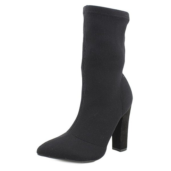Bamboo Madam 34 Women Pointed Toe Canvas Black Mid Calf Boot