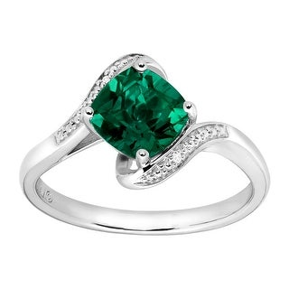 1 3/8 ct Created Emerald Ring with Diamonds in Sterling Silver - Green