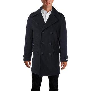 Calvin Klein Mens Wool Blend Single Vent Pea Coat - 36