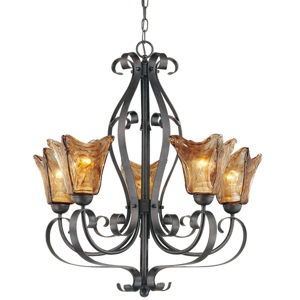 Millennium Lighting 7125 Chatsworth 5-Light Single Tier Chandelier - Burnished Gold - N/A