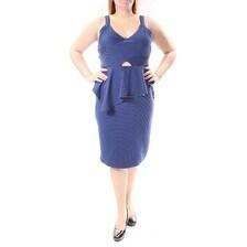 MATERIAL GIRL $110 Womens New 1261 Blue V Neck Peplum Dress Juniors XL B+B