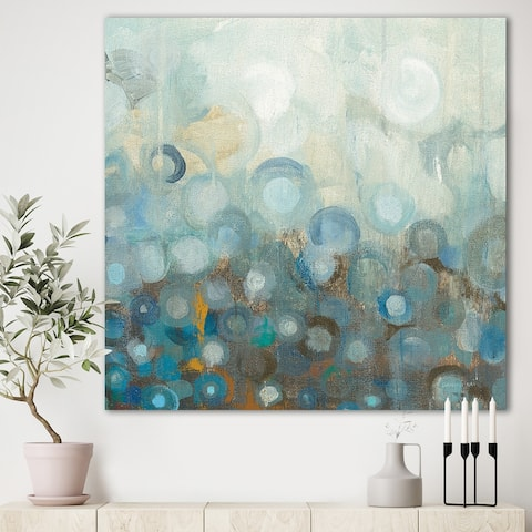Designart 'Blue and Bronze Dots on Glass II' Modern & Contemporary Canvas Art - Blue