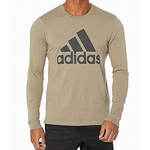 Adidas Mens T-Shirt Green Size Small S Logo Front Crew Graphic Tee