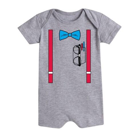 Tuxedo Suspender Bowtie Nerd - Infant Romper