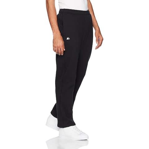 Starter Men's Open-Bottom Sweatpants with Pockets, Amazon, Black, Size X-Large