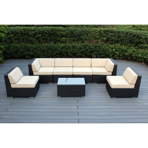 Ohana Outdoor 7-pc. Cushioned Black Wicker Conversation Set
