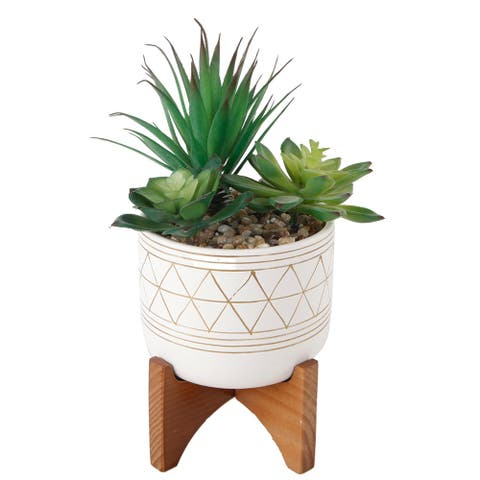 "Artificial Plant Succulent IN GOLD HANDPIANT 5"" CERAMIC FOOTED STAND - ONE-SIZE"