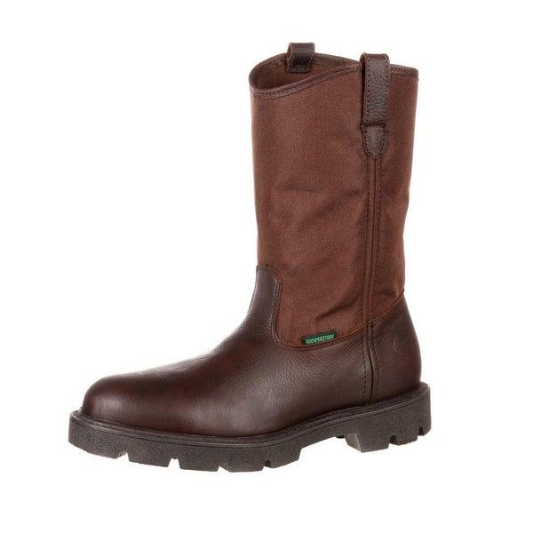 """Georgia Boot Work Mens 11"""" Homeland Waterproof Pull On Brown"""