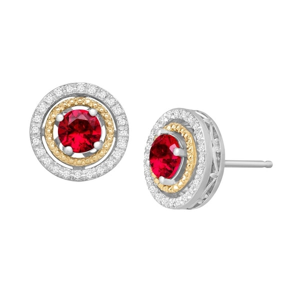1 1/3 ct Created Ruby & 1/8 ct Diamond Stud Earrings in Sterling Silver and 14K Gold