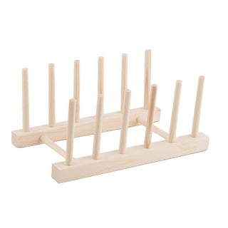 "Restaurant Kitchen Wood Dish Bowl Plate Holder Organizer Drying Rack - Wood Color - 9""x5.4""x4""(L*W*H)"