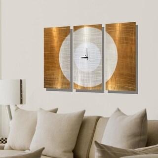 """Statements2000 Metal Wall Clock Art Panels Copper Silver Decor by Jon Allen - Warm Embrace Clock - 38"""" x 24"""""""