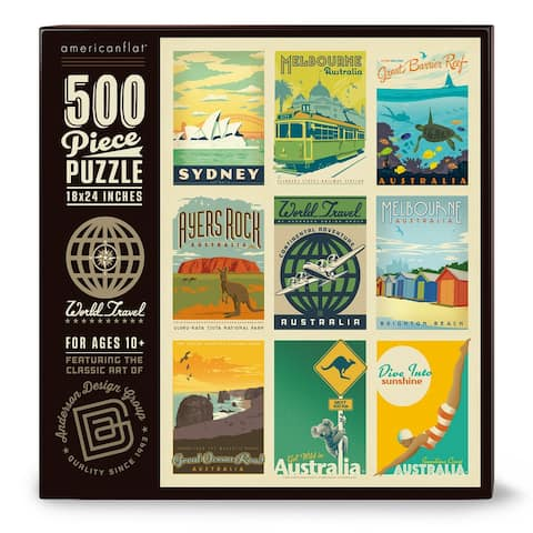Americanflat 500 Piece Jigsaw Puzzle, 18x24 Inches, World Travel Australia Art by Anderson Design Group - 18 x 24
