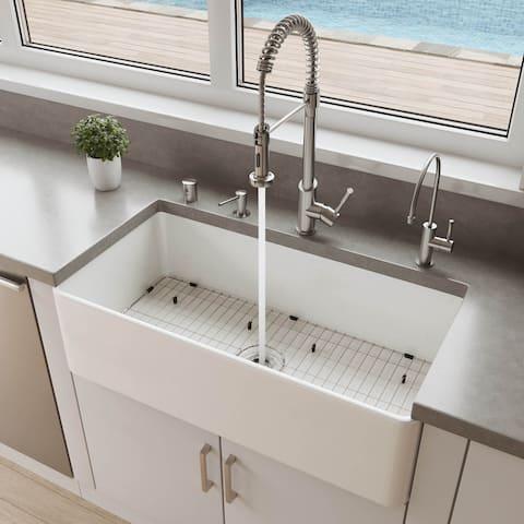 "ALFI brand ABF3618 36"" White Thin Wall Single Bowl Smooth Apron Fireclay Kitchen Farm Sink"