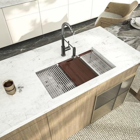 Kichae 30/33 Inch Low Divide Double Bowl 60/40 Prep Workstation Sink 16 Gauge Stainless Steel Undermount Kitchen Sink