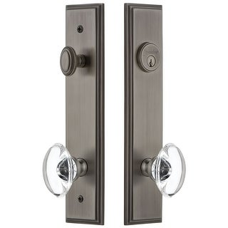 Grandeur CARPRO_TP_ESET_238  Carre Solid Brass Tall Plate Single Cylinder Keyed Entry Set with Provence Crystal Knob and 2-3/8""