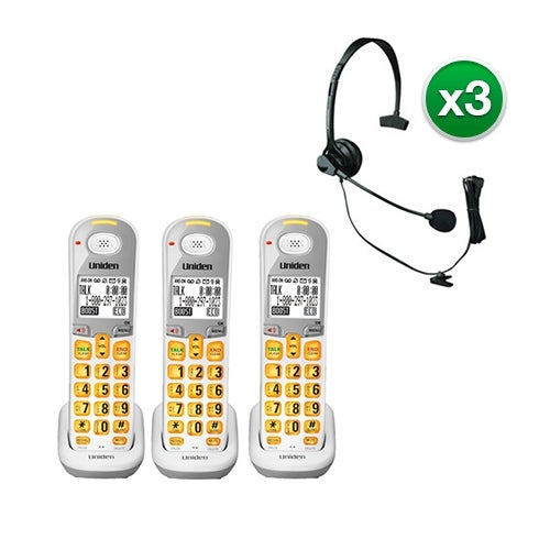 Uniden DCX309-3 with Headset DECT 6.0 Amplified Handset
