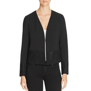 T Tahari Womens Binx Jacket Lace Inset Hook/Eye Closure