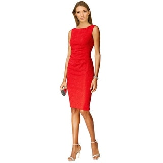 Jessica Howard Sleeveless Ruched Sheath Cocktail Dress