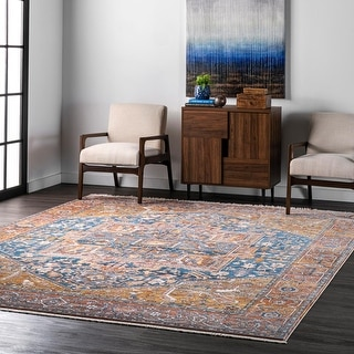 Link to Gracewood Hollow Lapointe Medallion Border Area Rug Similar Items in As Is