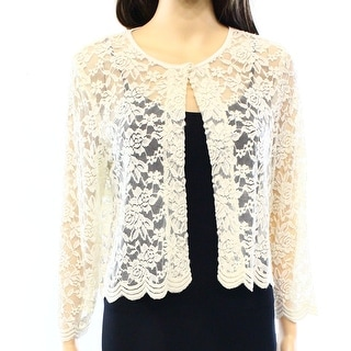 Connected Apparel NEW Beige Floral Lace Womens Large L Cardigan Sweater