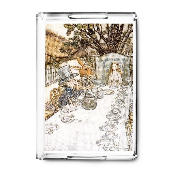 Alice in Wonderland Tea Party - (artist: Rackhaw c. 1907) - Vintage Advertisement (Acrylic Serving Tray)