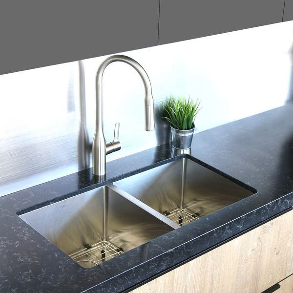 32 L X 18 W Double Basin Undermount Kitchen Sink With Grids And Strainers Overstock 28045097