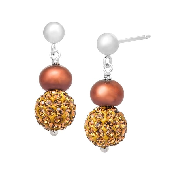 Freshwater Pearl Drop Earrings with Chocolate Swarovski elements Crystals in Sterling Silver